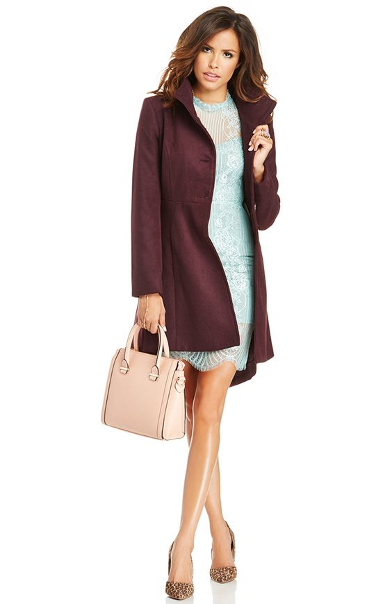 Lace dresses are always a great go-to when you need something a little dressier. We love this mint dress with beautiful overlay detail at the neckline. Wear it with plum colored trench coat to really bring out the color.