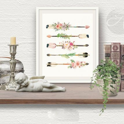 Anthropologie インテリア雑貨 お洒落な北欧アート★羽と弓のアートポスター (A4)