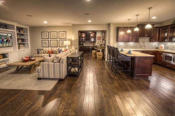 Finished basement ideas cool basements for Best flooring for basement family room