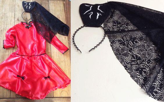 Día 2: Disfraz de Dama Antigua vincha con peineta de fieltro y encaje. myvioletdesigns.com
