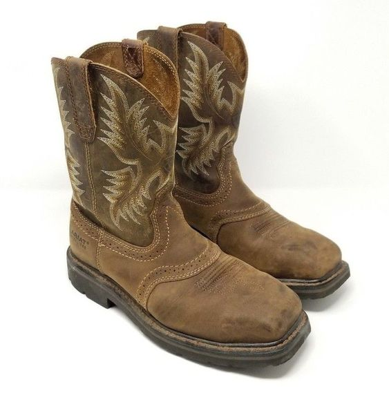 Ariat Mens Sierra Square STEEL Toe 8D Cowboy WESTERN Work Boot Style 10010134 #Ariat #WorkSafety