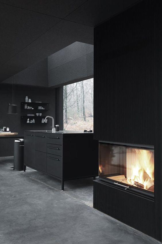 #interiors #black kitchen #fireplaces