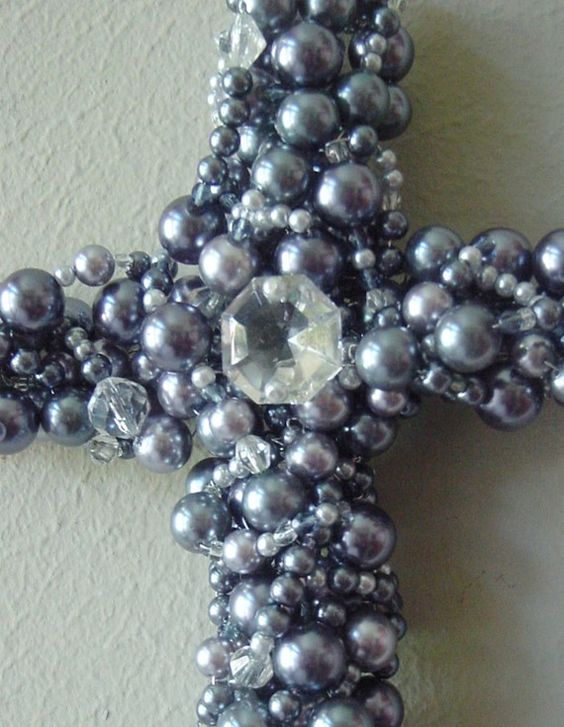 Wall Cross Beaded Jewel Embellished Easter Pearl by TeTelesTai