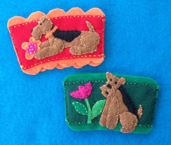 Airedale coffee cozies by Ecotrinkets - Amy Monthei