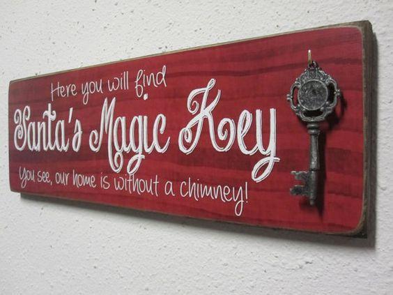 Santas Magic Key Sign by BornOnBonn on Etsy, $35.00