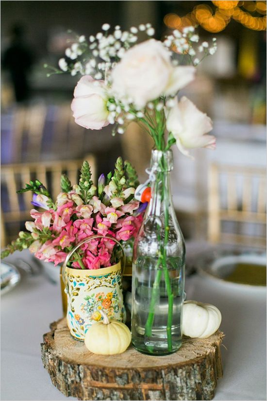 Shabby chic and glam wedding table centerpieces