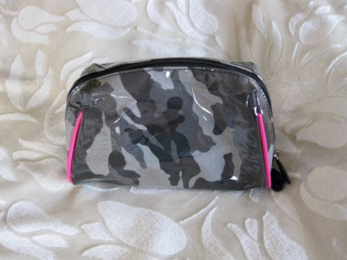 Instyle Laminated Gray Black Pink Print Cosmetic Makeup Clutch Purse Bag New