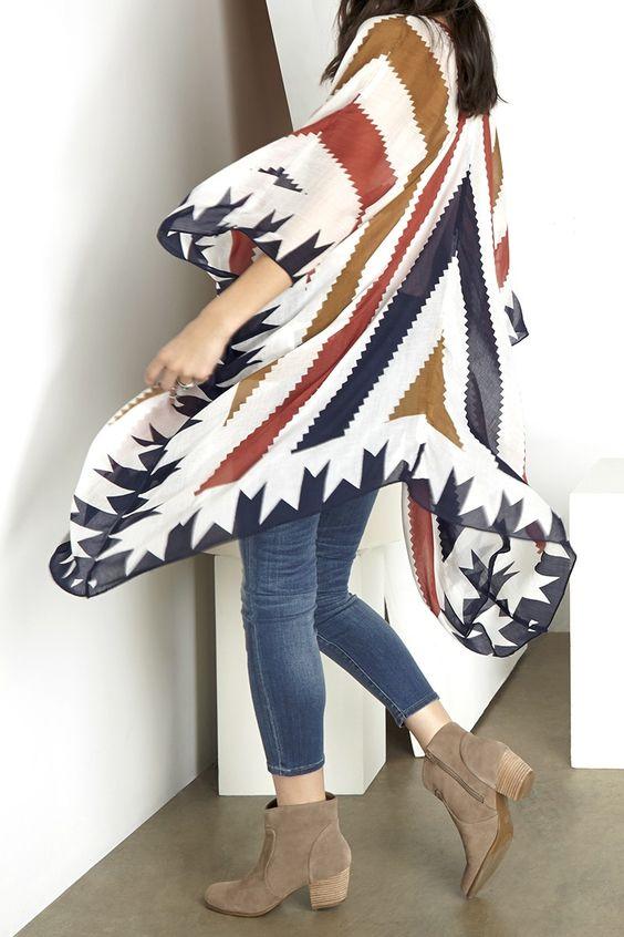Tribal-printed kimono: