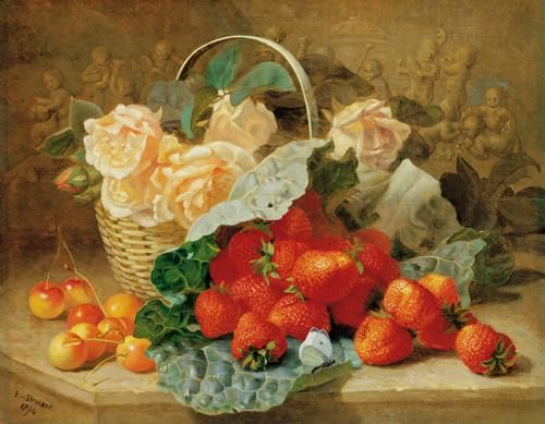 A Still Life of Summer Fruit and Peach Roses: Victorian watercolour painting by the artist Eloise Harriet Stannard (1828-1915).
