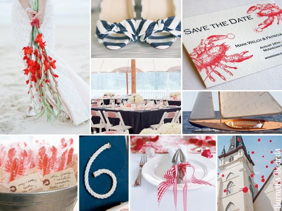 {maine lobsters} a navy blue and red wedding with lots of lobster details and an East Coast vibe! See all the inspiration here http://burnettsboards.com/2012/09/maine-lobsters/