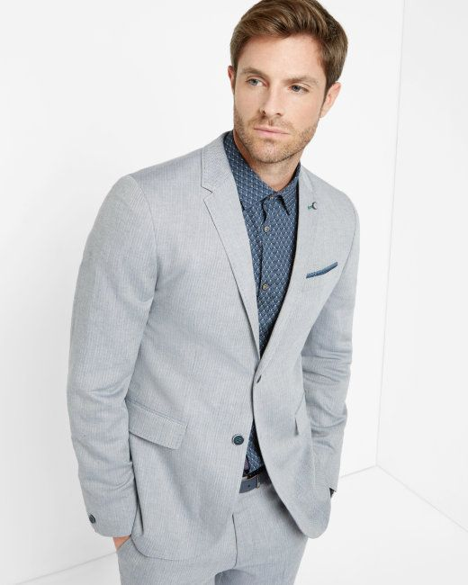 Linen herringbone jacket - Blue | New Arrivals | Ted Baker UK