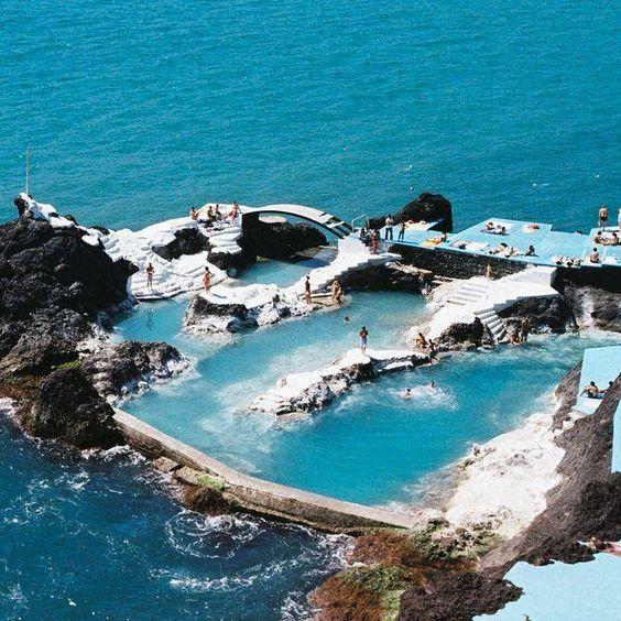 Lava pool in Maderia, Portugal.                              …