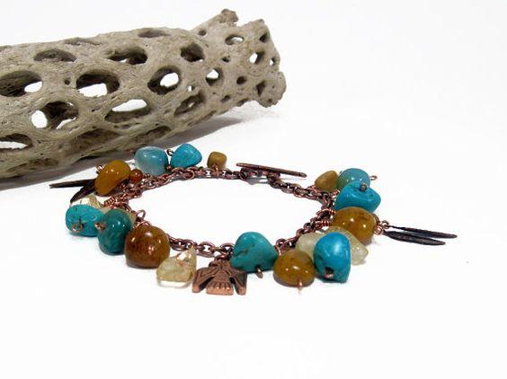 Southwest Charm Bracelet w Thunderbird Lizard and by MysticWynd, $45.00