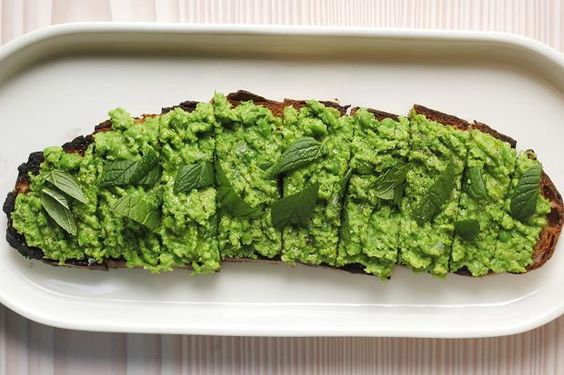 Pea, mint and fava bean tartine | Recipes, Beans and Articles