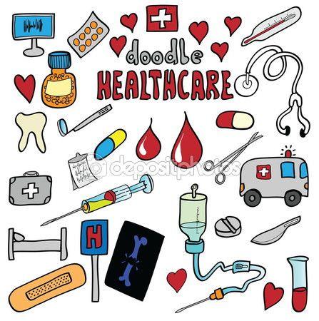 Medicina y cuidado de la salud conjunto de iconos de dibujos animados — Imagen de stock #64707659