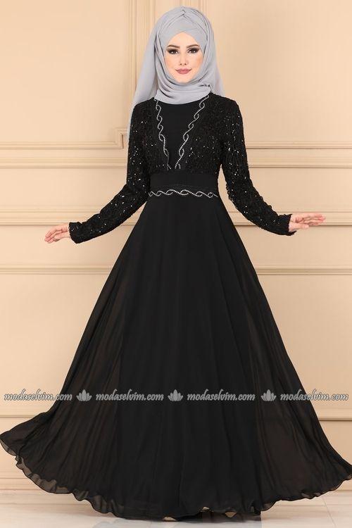 Modaselvim Abiye Gupuru Tasli Tesettur Abiye Alm52759 Siyah Abaya Tarzi The Dress Elbiseler