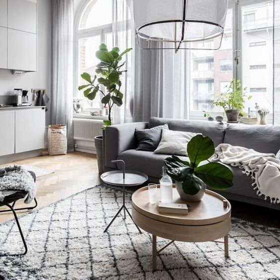 Swedish Modern Living Room Design With Light Interior And Green Plants Living Room Decor Modern Living Room Decor Cozy Living Room Scandinavian