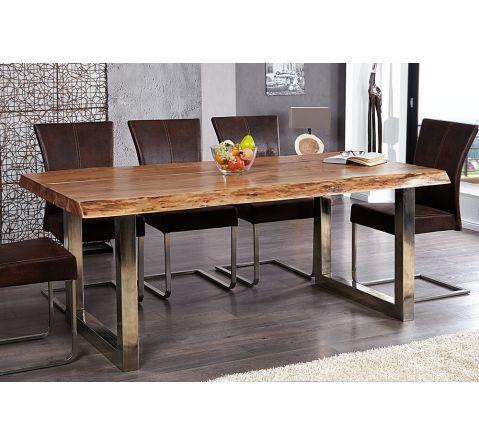 table a manger en bois massif et metal chrome tree pad 200 cm