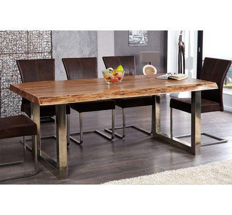 Table a manger en bois massif et metal chrome tree pad 200 for Table salle manger bois massif design