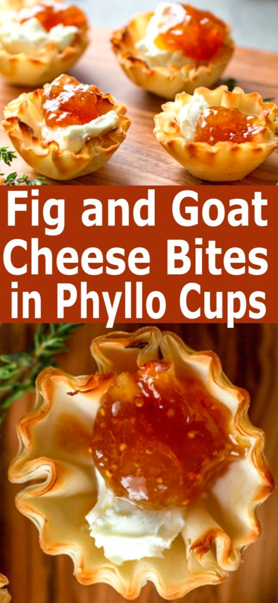 FIG AND GOAT CHEESE BITES IN PHYLLO CUPS