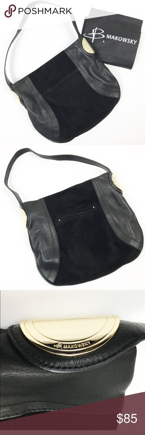 B. Makowsky new black leather and suede boho purse B. Makowsky black leather and suede Hobo Bag with gold tone hardware. Inside is leopard print polysatin. Two main compartments, one zips, one has magnetic closure. A236111. Measures 12 by 10 by 5. NEW without tags. Bought and never used. B. Makowsky Bags Hobos