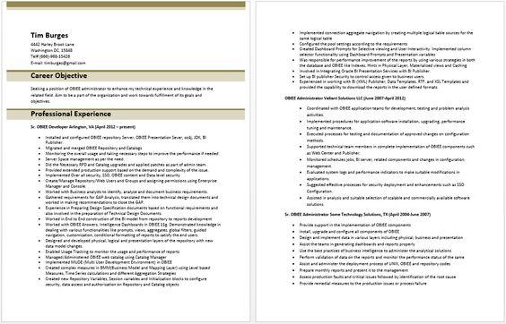 obiee sample resume - Kordurmoorddiner