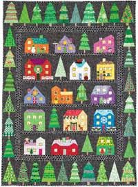 Introduction to First Snow by Tina Curran in Quilters Newsletter August/September 2014. This is also our free-for-a-limited-time Christmas themed series quilt for 2014!:
