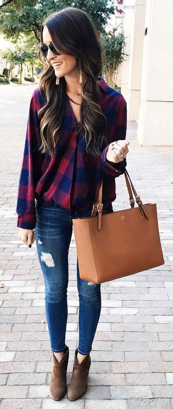 #winter #fashion / Plaid Shirt + Ripped Jeans + Camel Leather Tote