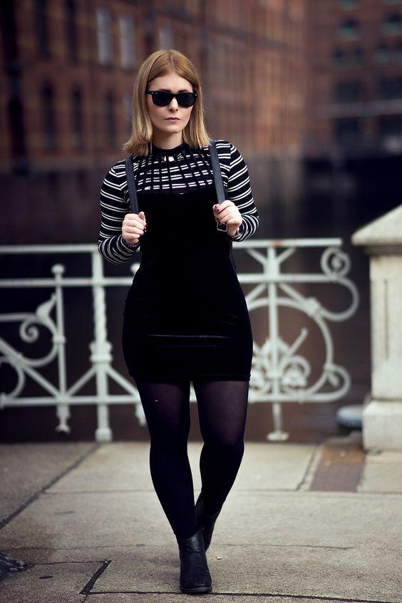 schwarzes samt kleid