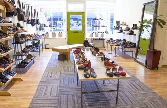 The interior of Bulo Shoes in San Francisco, shot from the middle of the store looking out onto Hayes Street.