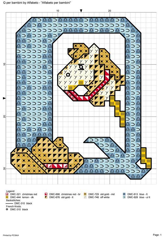 Alfabeto per bambini q alfabeti a punto croce pinterest for Alfabeti a punto croce per bambini