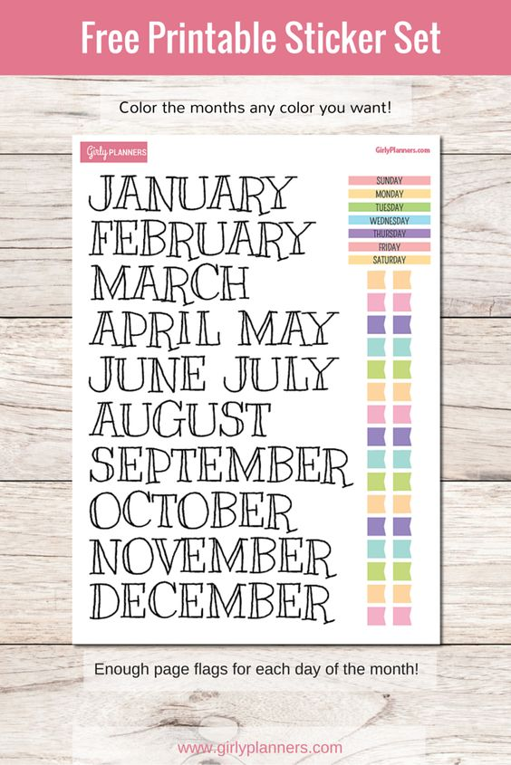 Free printable sticker set for your planner or bullet ...