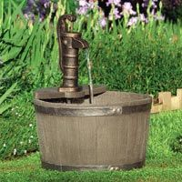 whiskey barrel garden fountain