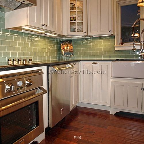 Good Green Glass Subway Tile, White Cabinets And Dark Floors. Love This!! Will