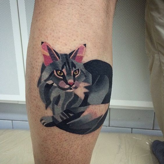 Sasha unisex's tattoo. Absolutely love - I want a geometric cat style tattoo for my other leg: