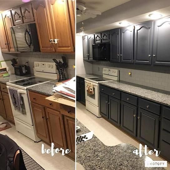 Before And After Of Kitchen Cabinets Being Painted Dark Gray Bathroomdesignonabudgetdiyi Grey Painted Kitchen Grey Kitchen Cabinets Dark Grey Kitchen Cabinets