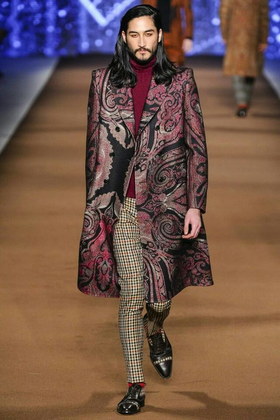 Long hair black wine paisley etro houndstooth overcoat layering model