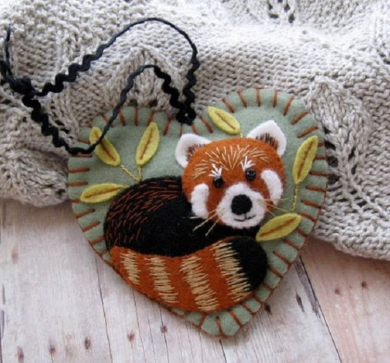 Red Panda Ornament ♡ by SandhraLee on Etsy: