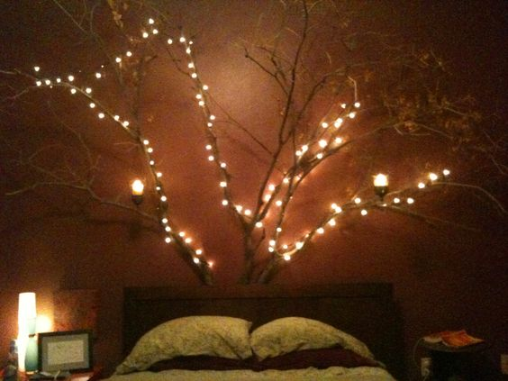 diy headboards in the corner and string lights on pinterest. Black Bedroom Furniture Sets. Home Design Ideas
