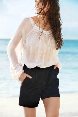 Poet Top and Denim Shorts
