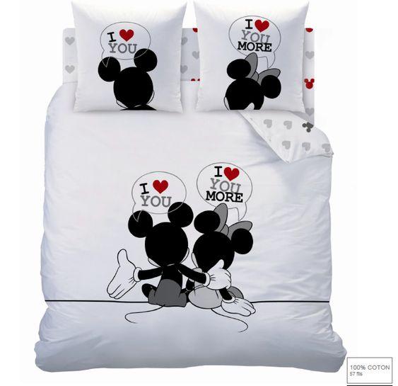 Mickey et minnie parure de lit housse de couette r versible 140 x 200 - Housse de couette minnie 220x240 ...