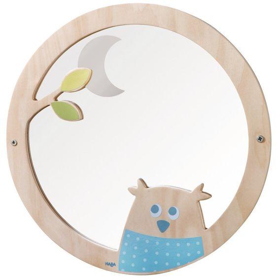 spiegel uil lichtblauw kinderkamer decoratie bij kidsdecoshop.nl, Deco ideeën