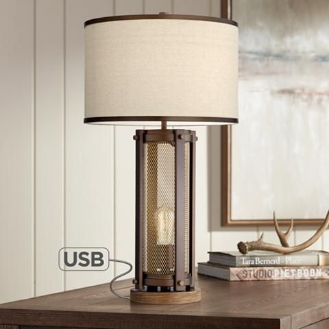 Otto Antique Brass Night Light Table Lamp With Usb Port 53y53