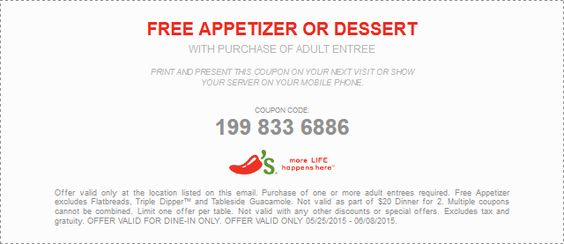 Pinned November 23rd Free dessert with your entree at #Chilis - coupon disclaimer examples