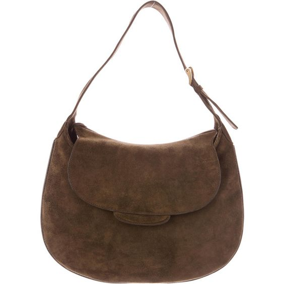 Pre-owned Valextra Suede Shoulder Bag (€410) ❤ liked on Polyvore featuring bags, handbags, shoulder bags, brown, purse shoulder bag, shoulder handbags, brown shoulder bag, shoulder hand bags and brown handbags
