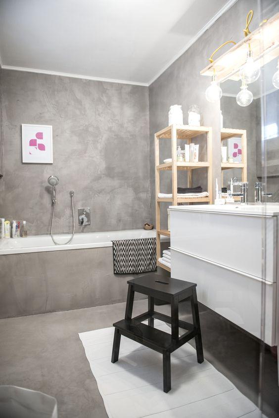 Badezimmer  alle Wände + Boden gespachtelt mit Béton Ciré Original