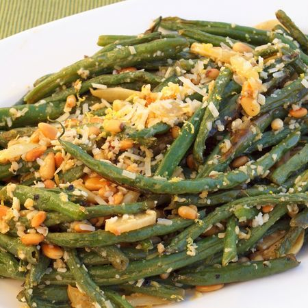Roasted Green Beans with Garlic, Lemon, Pine Nuts & Parmigiano-Reggiano (Once Upon a Chef)