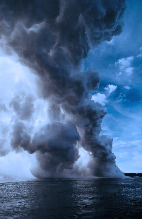 #clouds, no I think it's oceanic volcanic activity and that's the steam coming up from  the water: