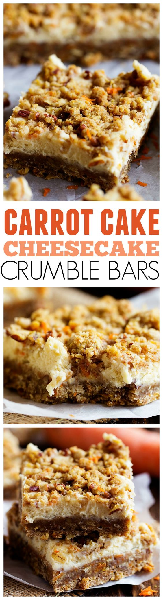Carrot Cake Cheesecake Crumble Bars Dessert Recipe via The Recipe Critic - Amazing Carrot Cake Cheesecake Crumble Bars that will be one of the BEST desserts that you have! #dessertbars #cookiebars #barsrecipes #dessertforacrowd #partydesserts #christmasdesserts #holidaydesserts #onepandesserts