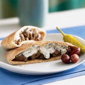 wheat pitas with savory strips of lamb and a cool cucumber and yogurt ...